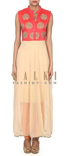 Buy this Beige and peach kurti adorn in thread embroidered butti only on Kalki