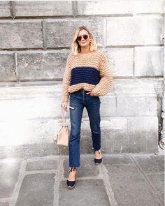 sweater + frayed denim + espadrilles + bucket bag.