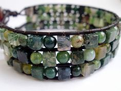 the natural moss agate stones on this are a nice contrast to the leather. Love it!!