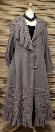 ZUZA BART*OVERSIZED HAND MADE ECO KNIT LINEN COAT WITH LINING**MINK-BROWN** XXL #ZuzaBart #Coat #Casual