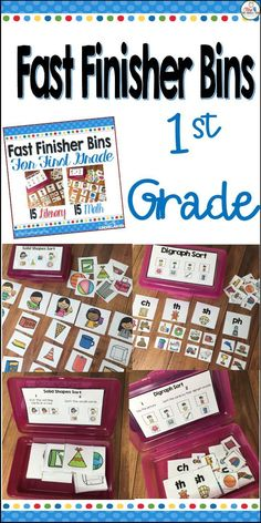 """Easy and educational classroom management for your early finishers. Keep your fast finishers engaged with something fun and educational. These 30 Fast Finishers Bins are just what your classroom needs to keep the """"Teacher, I'm Done- now what do I do?"""" from driving you insane. These are """"easy to prep"""" and manage. Comes with 15 ELA and 15 math. for a set of 30 bins."""