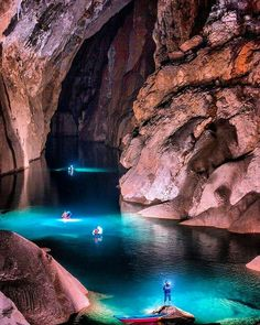 The greatest cave exploration in the world. . Hang Sơn Đoòng also known as Sơn Đoòng cave which roughly translates to Mountain River Cave is the world's largest cave. At more than 200m high 150m wide and 5km long the Hang Son Doong cave in Vietnam is so big it has its own river jungle and climate. . It is located near the Vietnam-Laos border in a section of the Phong Nha-Kẻ Bàng National Park which was declared a UNESCO World Heritage Site in 2003. . The cave was found by a local man named…