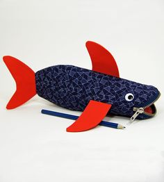 Shark Bite Pencil Case - Geometric with Poppy Red Fins | Women's Bags & Accessories | MinneBITES | Scoutmob Shoppe | Product Detail
