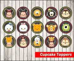 80% OFF SALE Tsum Tsum Chalkboard Cupcakes Toppers instant download, Printable Tsum Tsum party cupcakes Topper, Chalkboard Tsum Tsum toppers