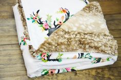 Floral Deer Minky Faux Fawn Fur baby blanket, baby swaddle, custom rustic baby bedding, faux fur throw blanket rustic nursery, floral antler by TheCozyTot on Etsy My Baby Girl, Our Baby, Baby Love, Baby Baby, Do It Yourself Baby, Baby Swaddle, Swaddle Blanket, Floral Nursery, Baby Girl Blankets