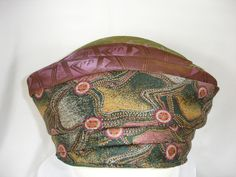 Mauve and Green Turban Made From Repurposed by Rumpelsilkskin, $68.00