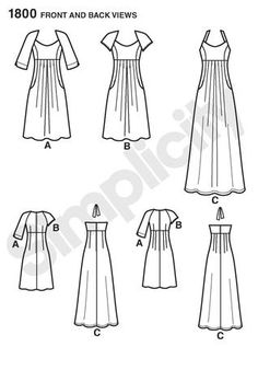 Simplicity 1800 Misses and Plus Dresses Line Drawing