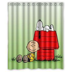 Custom Home Decor Bath Curtain Funny Cute Cartoon Dog Snoopy Polyester Shower 60 X 72 Inches High Quality Waterproof