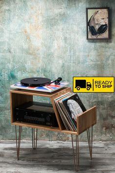 Vinyl Record opslag, platenspeler kabinet, Media Console, platenspeler staan, haarspeld benen