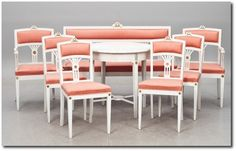 8 parts. Gustavian style, circa 1900.- Swedish Furniture From Bukowski Market-Gustavian, Gustavian Furniture, Rococo Swedish, Swedish Antiqu...