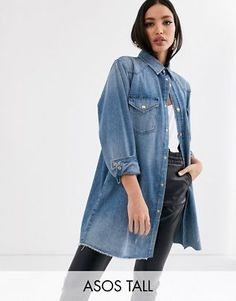Buy ASOS DESIGN Tall denim oversized shirt in vintage midwash blue at ASOS. With free delivery and return options (Ts&Cs apply), online shopping has never been so easy. Get the latest trends with ASOS now. Oversized Shirt Outfit, Oversized Jeans, Asos, Style Bleu, My Style, Outfits Con Camisa, Denim Outfit, Blue Fashion, Cool Outfits