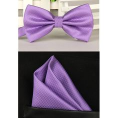 100% Silk Solid Bowtie & Pocket Square/Handkerchief for Weddings/Formal Atire