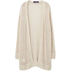 Violeta by Mango Openwork Cardigan, Sand found on Polyvore featuring tops, cardigans, plus size lightweight cardigan, pink long sleeve top, plus size cardigan, plus size womens cardigans and womens plus tops
