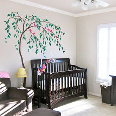 Nursery Large Tree Wall Decal with Birds Mural for Kids Room - tree wall decals - & Large tree and birds wall decal for nursery by TheAmeliaDesigns ...
