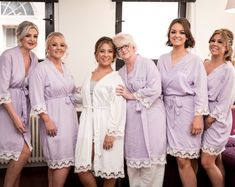 The Little Lovebird Real Brides wearing the Lacie Lilac Bridesmaid Robes  with Purple text bride robe 472b2763a