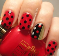 MandysSecrets: MARC JACOBS' DOT -- Review + Matching Nail Art - red with black dots and accent nail in black & gold with dots