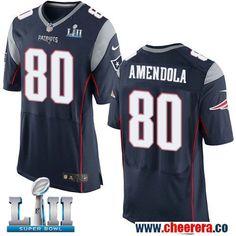 Nike Patriots 80 Danny Amendola Navy 2018 Super Bowl LII Elite Jersey