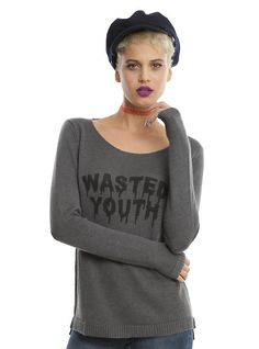 Wasted Youth Grey Crossback Girls Sweater, GREY