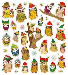 Hey, I found this really awesome Etsy listing at https://www.etsy.com/listing/195054348/owl-stickers-owls-in-christmas-hats