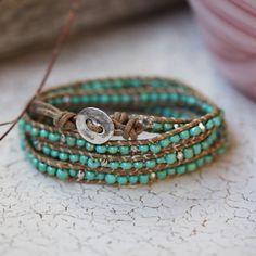 teal beaded wrap bracelet