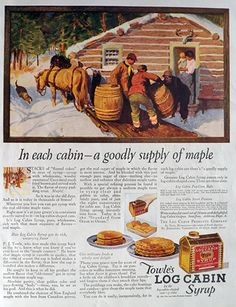 1922 Towle's Log Cabin Syrup Ad ~ Goodly Supply of Maple