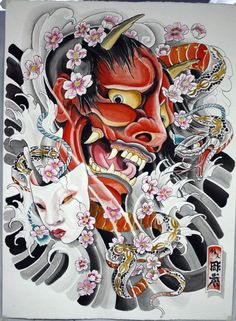 New Neck Tattoo Girl Ideas Oni Mask Tattoo, Samurai Mask Tattoo, Hannya Tattoo, Japanese Mask Tattoo, Japanese Dragon Tattoos, Japanese Tattoo Designs, Girl Neck Tattoos, Finger Tattoos, Sleeve Tattoos