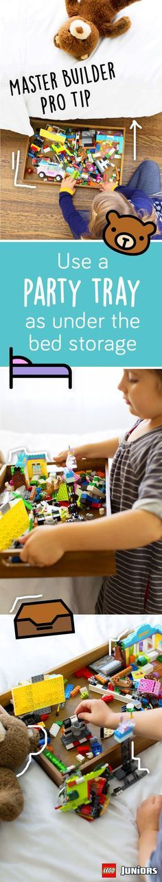 Our master builders have an awesome storage tip for young LEGO builders – and, their moms. Simply organize LEGO JUNIORS sets in a party tray and store it under the bed for a clean and easy way to keep building and rebuilding!