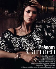 """Prénom Carmen – Kendra Spears turns up the heat for the February issue of Vogue Paris, photographed by Giampaolo Sgura. Inspired by the play """"Carmen"""" Vogue Paris, Toni Garrn, Anja Rubik, Pomellato, Sicilian Women, Bronze Skin, Poses, Vogue Magazine, Boho Gypsy"""