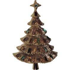 Kramer of New York Tiered Baguette Christmas Tree Pin ~ Book Piece