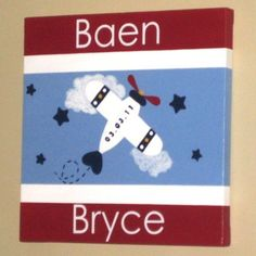 Custom Wall Words on Canvas Name Airplane Red by AllSpelledOut, $48.00
