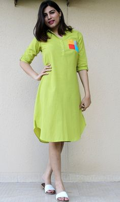 Simple Dresses for girls Simple Short Dresses, Stylish Dresses For Girls, Stylish Dress Designs, Simple Kurti Designs, Blouse Designs, Collar Kurti Design, Casual Frocks, Frock Fashion, Sleeves Designs For Dresses