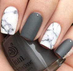 23 Jaw-Dropping Ways to Wear Marble Nails Grey Matte Nails with Marb. - 23 Jaw-Dropping Ways to Wear Marble Nails Grey Matte Nails with Marble Accent Nail - Grey Nail Designs, Marble Nail Designs, Marble Nail Art, Gray Marble, Cute Acrylic Nails, Fun Nails, Grey Matte Nails, Matte Nail Polish, Matte Pink