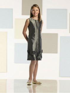 Knee-length Shift Taffeta Natural Bodice Scoop Neckline Flower Girl Dress