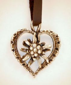 This pewter like heart is adorned with the traditional Edelweiss in the center. Austrian Women, Chanel Jewelry, Jewelery, Edelweiss, Cute Jewelry, Unique Jewelry, I Love Heart, Statement Jewelry, Girly Things