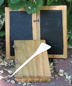 Wax Tablet with wooden stylus (because you can make beeswax soft enough with hand heat? and then just smooth it with a stylus made from a tongue depressor?)