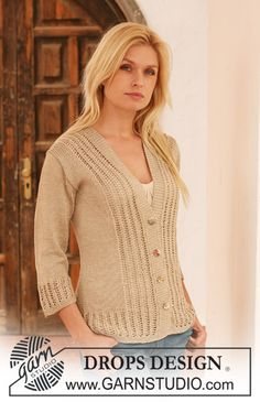 """Knitted DROPS jacket with lace pattern in """"Cotton Viscose"""". Size S - XXXL. ~ DROPS Design"""