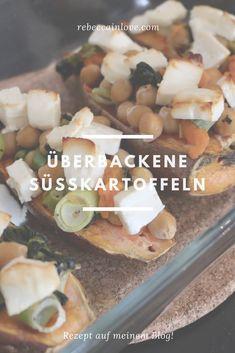 """Überbackene Süßkartoffeln mit Feta, Blattspinat und Kichererbsen! Rezept auf meinem Blog :)  --> rebeccainlove.com   Umbedingt ausprobieren :)! Viel Spaß beim """"Nachbacken"""". Feta, Cereal, Lunch, Blog, Breakfast, Chic Peas, Recipies, Morning Coffee, Eat Lunch"""