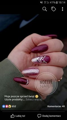 Here is a tutorial for an interesting Christmas nail art Silver glitter on a white background – a very elegant idea to welcome Christmas with style Decoration in a light garland for your Christmas nails Materials and tools needed: base… Continue Reading → Cute Acrylic Nails, Acrylic Nail Designs, Cute Nails, Pretty Nails, Nail Art Designs, Nails Design, Design Design, Design Ideas, Magenta Nails