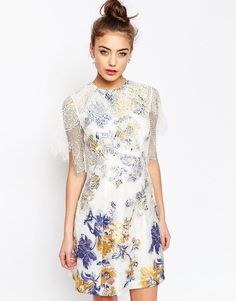ASOS A-Line Dress with Jacquard and Lace Detail - Multi