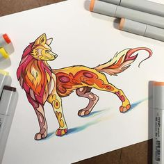 305- Fire Wolf  My coloring book with @bluestarcoloring will have varying levels of difficulty, all the way from easy to difficult. Here is a sample of one of the simple pages.   #art #drawing #bluestarcoloring #copic