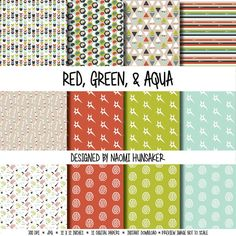 Check out Modern Neuroscience Paper Pack   Red, Green, & Aqua   Instant Download on handmadephd