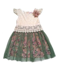 This Mini Treasure Kids Cream & Green Floral Lace Willow Dress - Infant, Toddler & Girls by Mini Treasure Kids is perfect! #zulilyfinds
