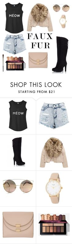 """""""Faux Fur & Nude"""" by victoria-sobczyk ❤ liked on Polyvore featuring Boohoo, Fratelli Karida, Kate Spade, Chloé, Urban Decay, leatherjacket, nude, fauxfur and OverTheKneeBoots"""
