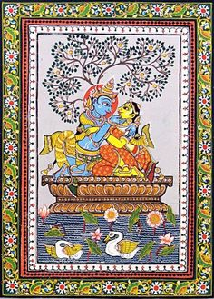 Radha Krishna - The Divine Lovers Orissa Paata Painting on Tussar Silk (via Dolls of India) Indian Traditional Paintings, Indian Art Paintings, Traditional Art, Krishna Painting, Krishna Art, Hare Krishna, Madhubani Art, Madhubani Painting, Phad Painting