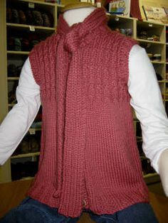 Child's Knitted Vest with Attached Scarf