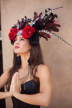 Red Rose Goddess Headdress.