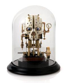 Steam powered kinetic skull sculpture