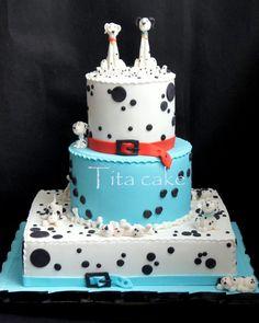 101 Dalmatians Cake, Cupcakes, and Cake Pops Cupcakes, Cupcake Cakes, Birthday Cakes For Teens, Cake Birthday, 7th Birthday, Foundant, Animal Cakes, Gateaux Cake, Dog Cakes