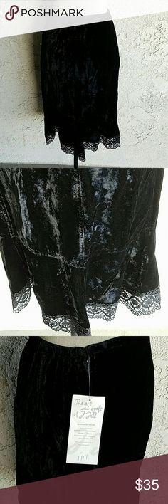 """J Jill Velvet Skirt  Nwt J Jill Velvet Skirt with Crochet Lace. 24"""" long. The Velvet is very soft. Elastic waist. Beautiful. J Jill  Skirts Midi"""