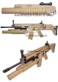 Classic Army Desert Tan Socom Long M203 RIS Mount Grenade Launcher. Airsoft